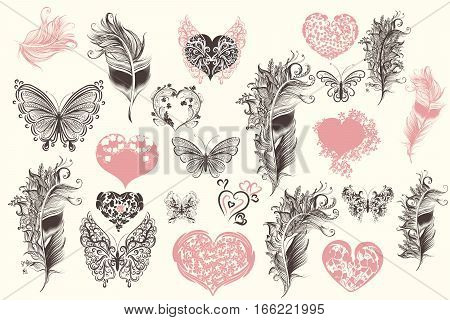 Collection of vector hearts butterflies and feathers