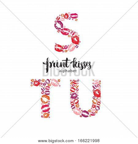 Set of letters S, T and U, made from print kisses, part of a complete alphabet collection for your writing or design