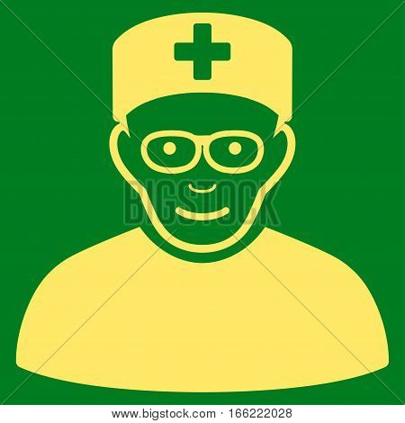 Medical Specialist vector icon. Flat yellow symbol. Pictogram is isolated on a green background. Designed for web and software interfaces.