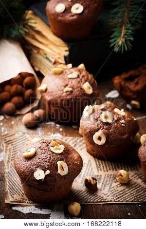 nutella and nut  cakes. rustic style. selective focus.