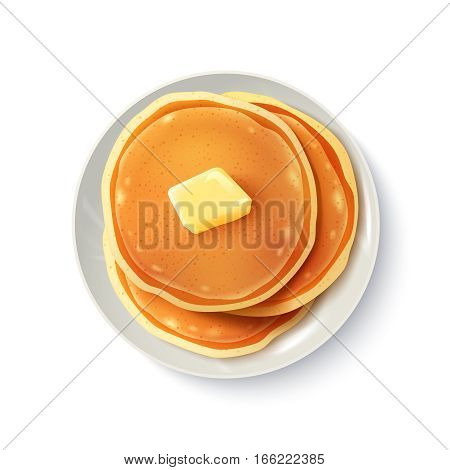 Breakfast food menu item tasty fluffy homestyle pancakes with butter plate realistic top view image vector illustration
