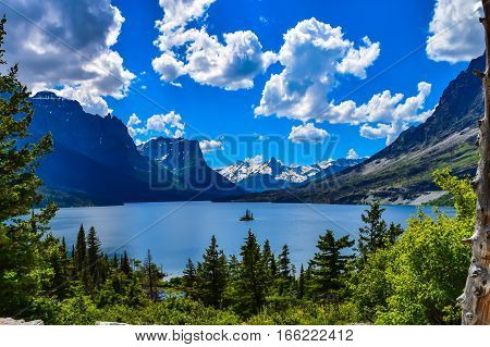 Small Island in a Vast Mountain Landscape