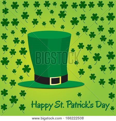 Leprechaun hat on green shamrock background. Picture ready for use in St. Patrick holiday thematic