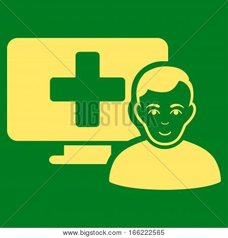 Online Medicine vector icon. Flat yellow symbol. Pictogram is isolated on a green background. Designed for web and software interfaces.