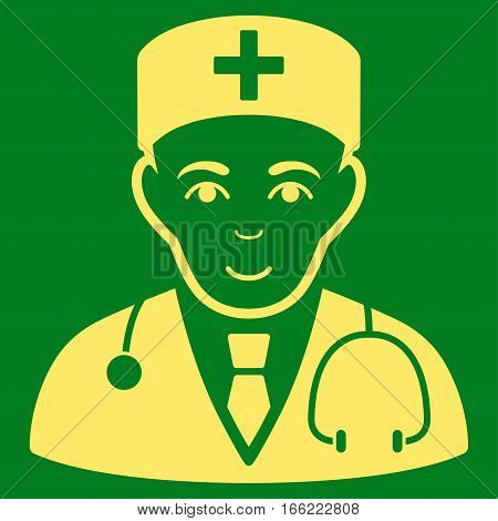 Physician vector icon. Flat yellow symbol. Pictogram is isolated on a green background. Designed for web and software interfaces.