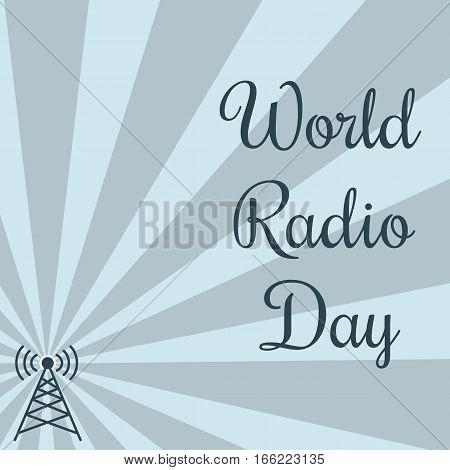 World radio day. Radio tower on striped background