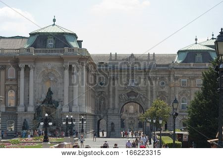 Budapest Hungary - 05 July 2015 : Tourists walking and taking pictures in the courtyard of Buda Castle in Budapest