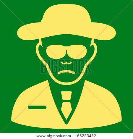 Security Agent vector icon. Flat yellow symbol. Pictogram is isolated on a green background. Designed for web and software interfaces.