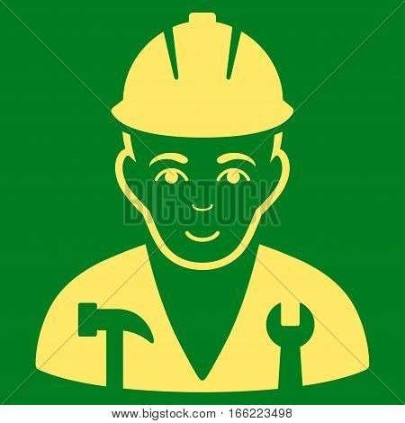 Serviceman vector icon. Flat yellow symbol. Pictogram is isolated on a green background. Designed for web and software interfaces.