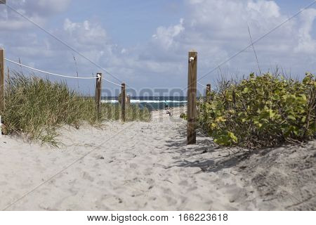Path to beach at South Inlet Park Boca Raton Florida