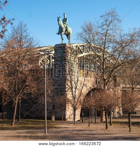 Cologne, Germany - January 19, 2017: Equestrian statue of Prussian King Friedrich Wilhelm Viktor Albert von Preuben. Located at the Hohenzollern Bridge.