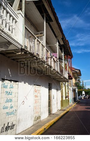 June 15 2016 Panama City Panama: closeup of a newly renovated historical buildings mixed with ruins in the Casco Viejo area of the capital city
