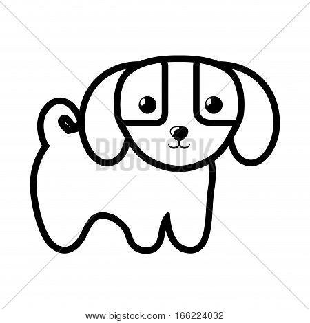 dog little canine adorable outline vector illustration eps 10