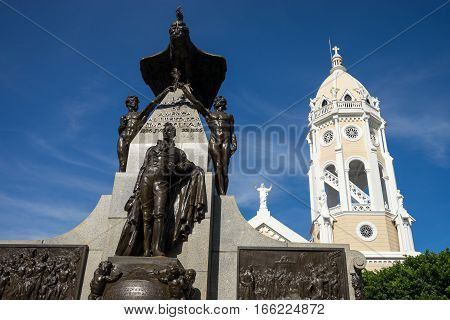 June 30, 2016 Panama City, Panama: outdoor statues in Casco Viejo historic area