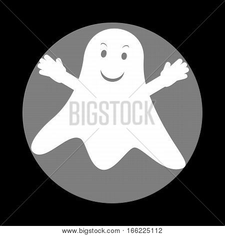 Ghost isolated sign. White icon in gray circle at black background. Circumscribed circle. Circumcircle.