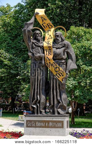 PAZARDZHIK, BULGARIA - JULY 14, 2011: Monument of the Saints Cyril and Methodius in the town of Pazardzhik Bulgaria. The so called Apostles to the Slavs created the Glagolitic and Cyrillic alphabets.