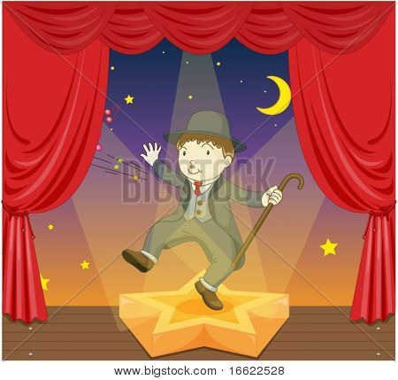 illustration of charlie chaplin on stage