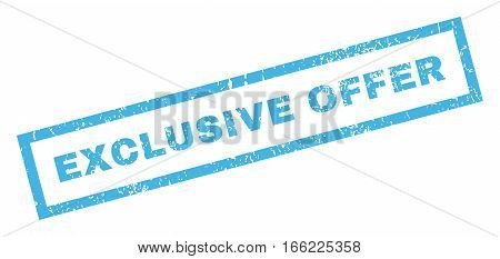 Exclusive Offer text rubber seal stamp watermark. Caption inside rectangular shape with grunge design and unclean texture. Inclined vector blue ink emblem on a white background.