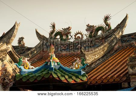Penang, Malaysia - August 9, 2015: Temple with intricate ornamentation and design