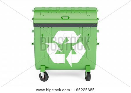 closed green garbage container 3D rendering on white