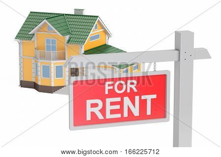 For rent concept 3D rendering isolated on white background