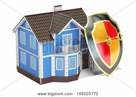 Home security and protection concept house with shield. 3D rendering