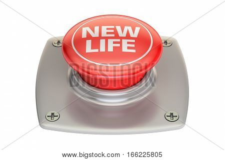 New Life Red button 3D rendering isolated on white background