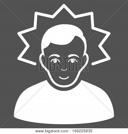 Inventor vector icon. Flat white symbol. Pictogram is isolated on a gray background. Designed for web and software interfaces.