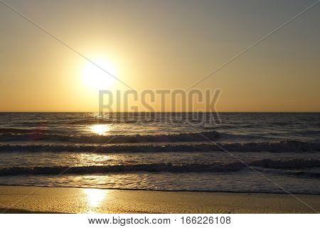 soft glow of an ocean twilight sunset
