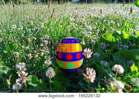 rendered colorful easter egg in the grass