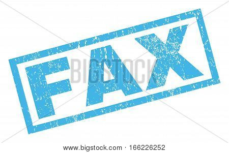 Fax text rubber seal stamp watermark. Caption inside rectangular banner with grunge design and dirty texture. Inclined vector blue ink sign on a white background.