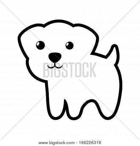 dog canine young standing outline vector illustration eps 10