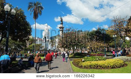 Quito, Pichincha / Ecuador - January 22 2016: People walking in Independence Square in the Historic center of Quito. Historic center was declared by UNESCO the first Cultural Heritage on 1978