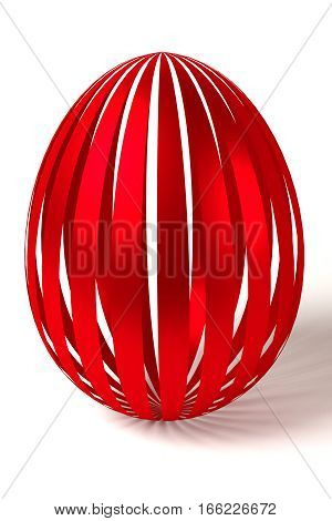 rendered red striped easter egg on the white background, 3d rendering
