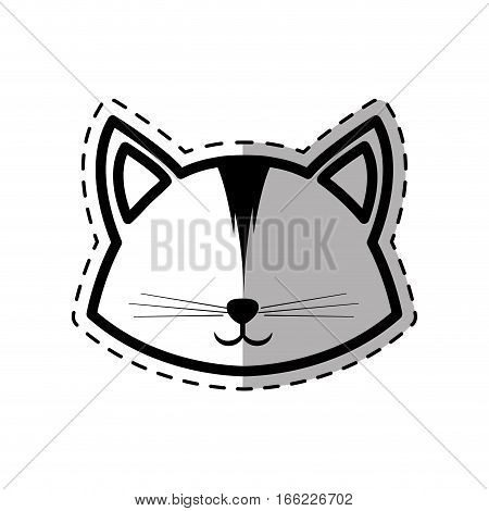 face cat animal domestic furry dot line shadow vector illustration eps 10