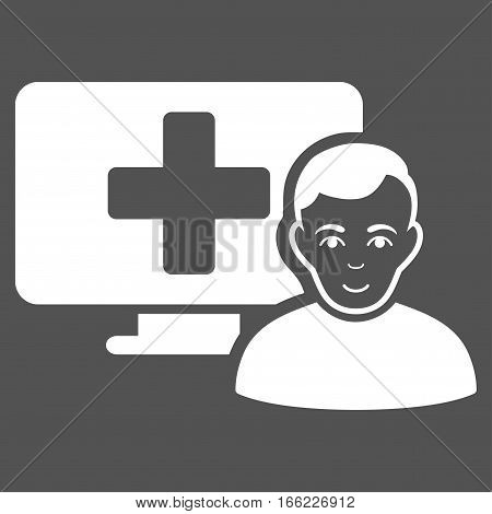 Online Medicine vector icon. Flat white symbol. Pictogram is isolated on a gray background. Designed for web and software interfaces.