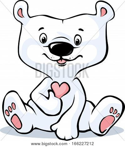 Cute Polar Bear hold heart sitting isolated on white background - valentine day vector cartoon illustration