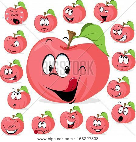 pink apple with many expressions - funny apple vector illustration cartoon