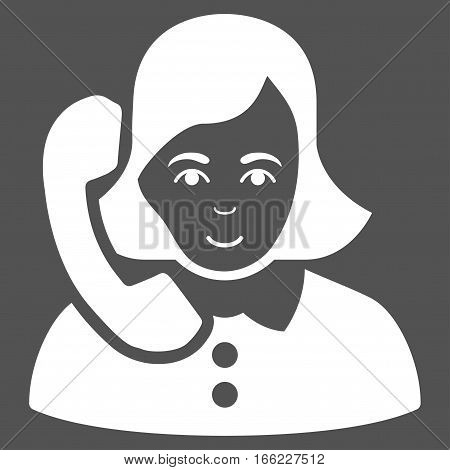 Receptionist vector icon. Flat white symbol. Pictogram is isolated on a gray background. Designed for web and software interfaces.