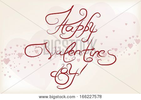 Vector card for Valentine's Day with handwritten text. The laconic style. Heart stylized paper. Doodle sketch.