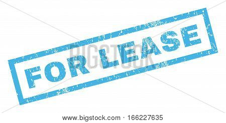 For Lease text rubber seal stamp watermark. Tag inside rectangular shape with grunge design and unclean texture. Inclined vector blue ink sign on a white background.