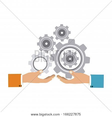 colorful silhouette with hands hold gear wheels vector illustration