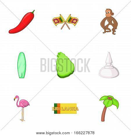 Symbols representing Sri Lanka icons set. Cartoon illustration of symbols representing Sri Lanka 9 vector icons for web