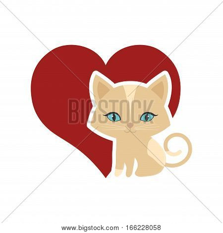 cat animal domestic furry red heart vector illustration eps 10