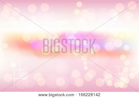 Vector background for Valentine's day and other holydays. Beautiful bokeh. Blurred background. Peach pink blue soft pastel shades.