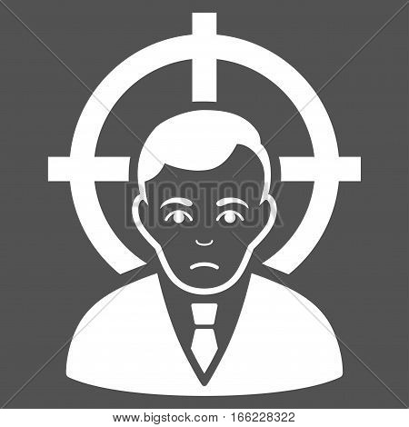 Victim Businessman vector icon. Flat white symbol. Pictogram is isolated on a gray background. Designed for web and software interfaces.