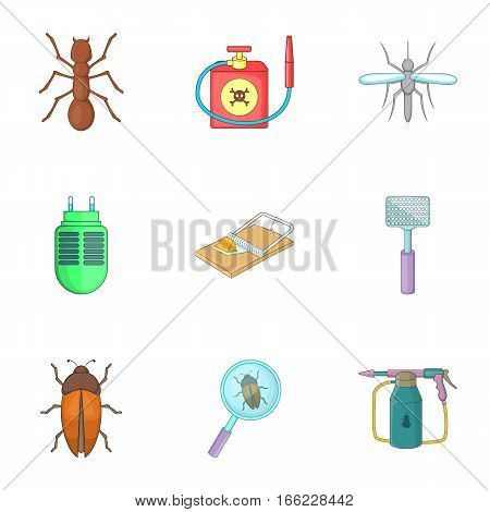 Harassment of insects icons set. Cartoon illustration of 9 harassment of insects vector icons for web