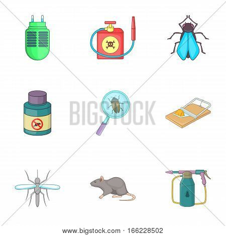 Home pest control service icons set. Cartoon illustration of 9 home pest control service vector icons for web