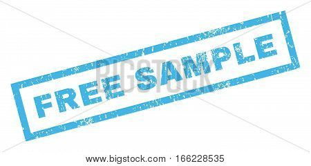 Free Sample text rubber seal stamp watermark. Tag inside rectangular banner with grunge design and scratched texture. Inclined vector blue ink emblem on a white background.