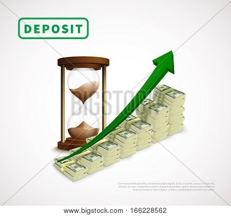 Money prosperity realistic business template with dollar banknotes stacks rising arrow and hourglass isolated vector illustration